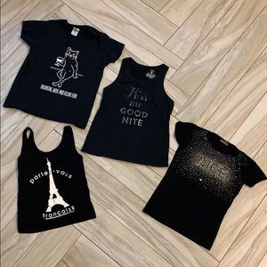Tops - Lot of 4 France and Romance themed Shirts